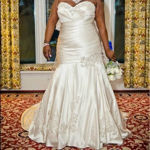 Allure Bridal satin Jeweled wedding dress
